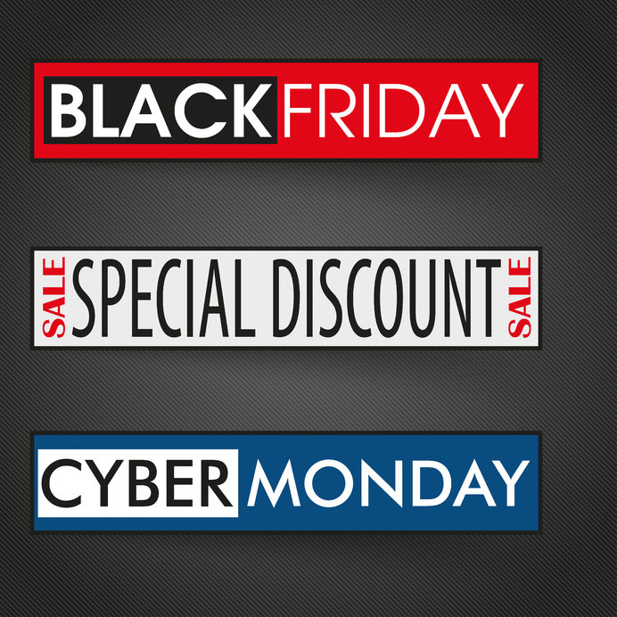 48831320 - 3 banners with text cyber monday and black friday on the dark background. eps 10 vector file.